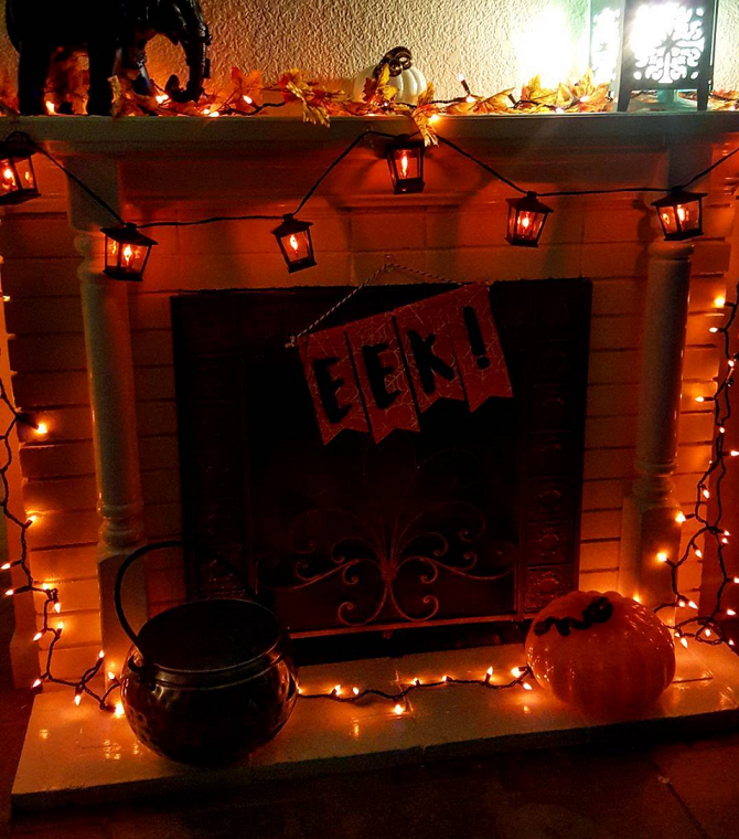 Decorate your fireplace for halloween crafty morning for How to decorate your fireplace for halloween