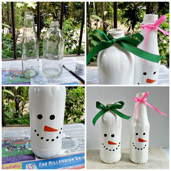 Turn Bottles into Snowmen