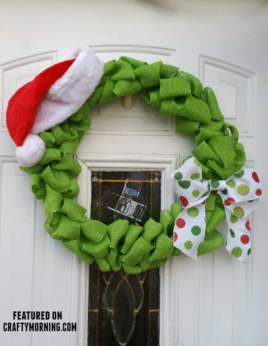 burlap grinch wreath christmas craft - How The Grinch Stole Christmas Decorations
