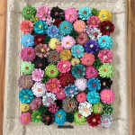 Framed Flower Decor Made from Pine Cones