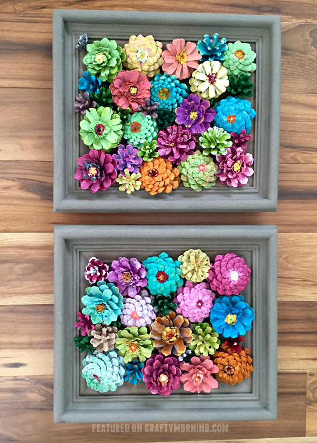 Framed flower decor made from pine cones crafty morning for Pine cone crafts for children
