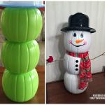 Plastic Pumpkin Snowman/Fall Decoration