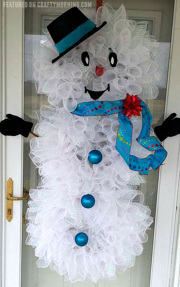deco mesh snowman door wreath christmas