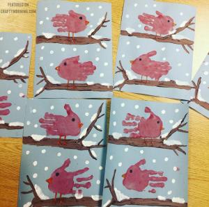 Handprint Cardinals Craft for Kids