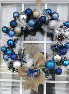 Blue Winter Christmas Ornament Wreath