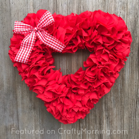fabric strip valentine heart wreath crafty morning