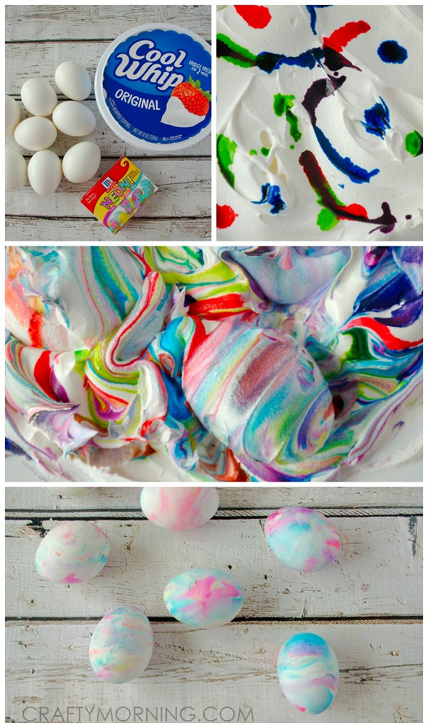 Cool Whip Dyed Easter Eggs - Crafty Morning