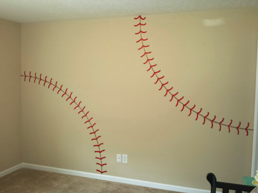Heres A Cute Idea To Do Your Little Boys Room If They Love Baseball Just Paint Wall Tan Color Then Use Slightly Darker The Seams
