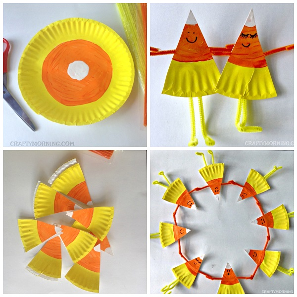 Candy Corn Paper Collage– Have the kids rip up colored paper and make some candy corn! Pom Pom Painted Candy Corn– A simple stamping craft for kids to do with clothespins and pom-poms! Candy Corn on the Cobb– Cute idea for the fall time. Popsicle Stick Candy Corn– A unique craft idea using popsicle sticks! Tissue Paper Candy Corn.