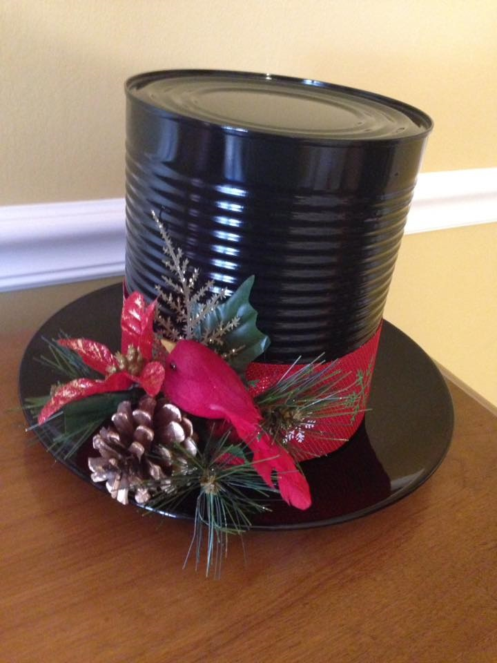 Make Frosty The Snowman S Hat From A Can Crafty Morning