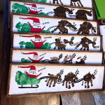 Handprint/Footprint Santa Sleigh Wood Plank