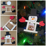 Popsicle Stick Photo Snowman Ornament