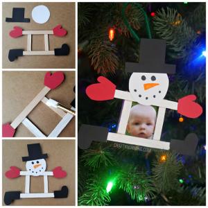 Popsicle Stick Photo Snowman Ornament