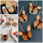 Wood Slice Doe Ornaments