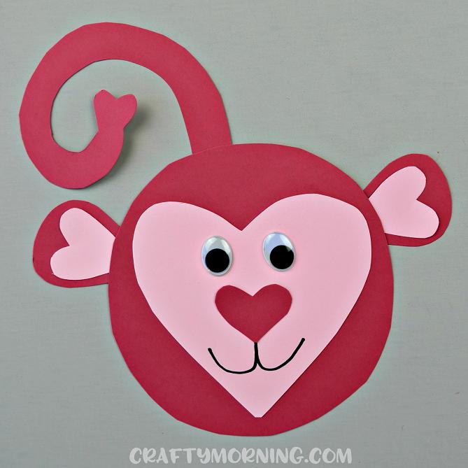Heart Shaped Monkey Valentine Craft - Crafty Morning