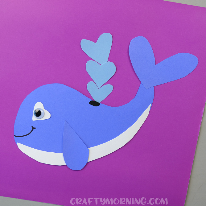 Valentine 39 s day heart shaped animal crafts for kids for Whale crafts for kids
