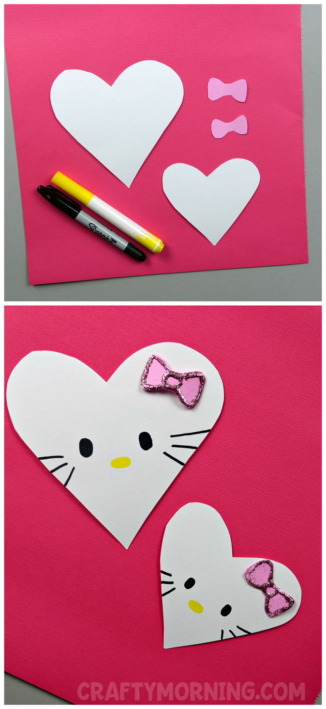 Make Some Cute Little Hello Kitty Heart Valentines With The Kiddos!! So  Easy And Adorable.