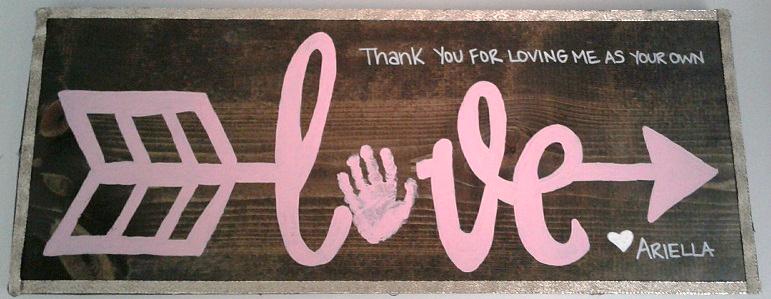 Arrow Love Handprint Wood Sign