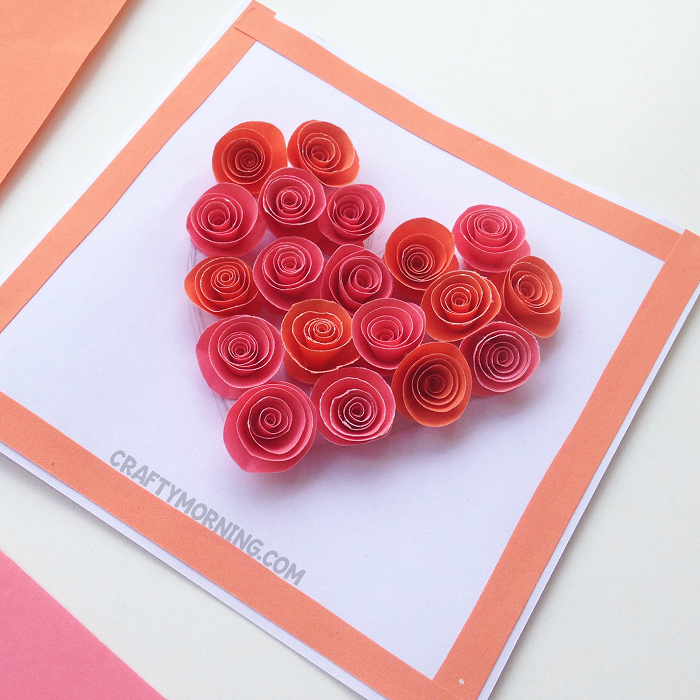 diy rolled paper roses valentines day card spiral paper card crafty morning 8057