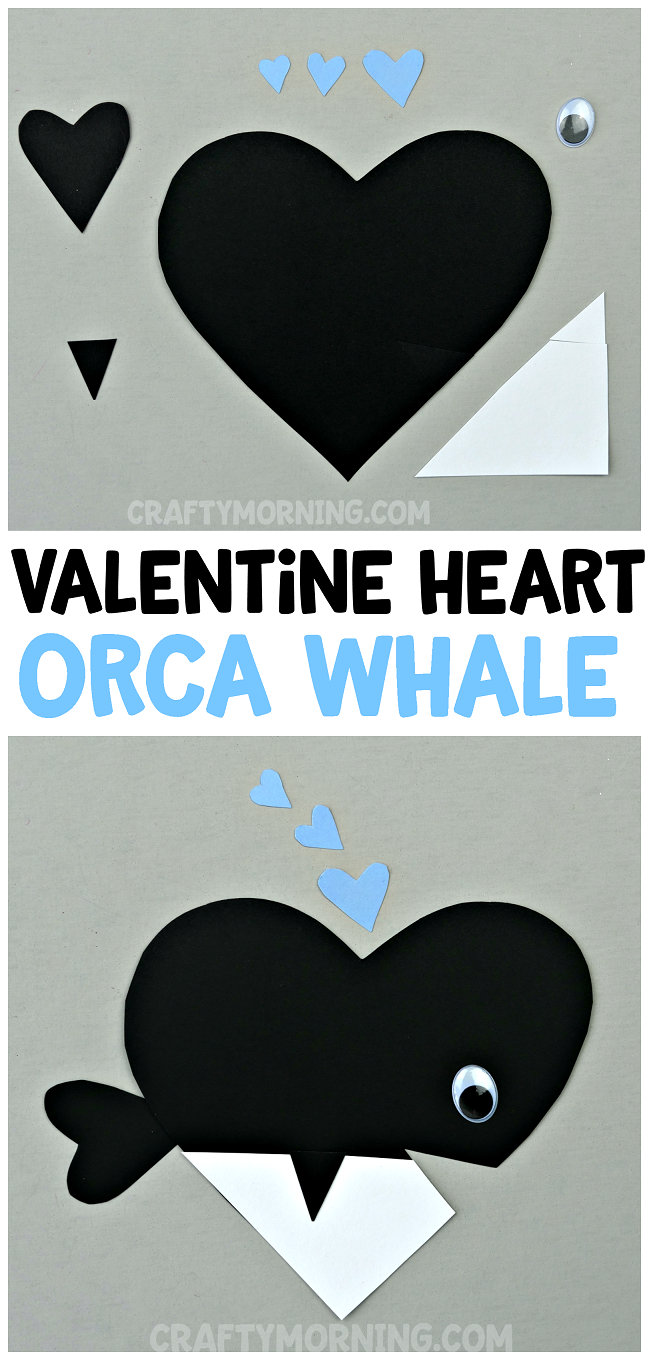 Valentine Heart Orca Whale Craft Crafty Morning