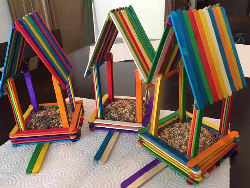 Rainbow Popsicle Stick Birdhouses