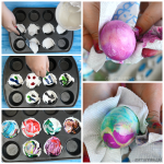 Cool Whip Dyed Easter Eggs in a Muffin Tin