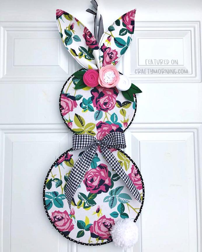 Embroidery Hoop Bunny Door Hanger - Crafty Morning