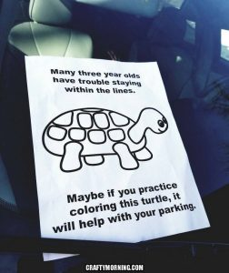 Funny Turtle Parking Coloring Page