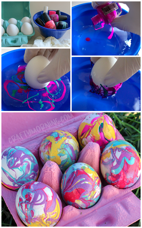 Nail Polish Marbled Easter Eggs Crafty Morning