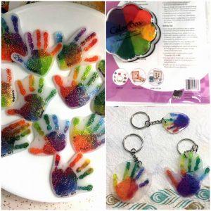 Handprint Shrinky Dink Keychains