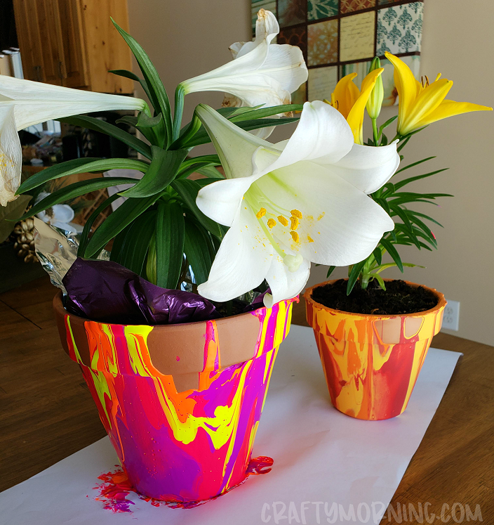 Paint Drip Flower Pots Crafty Morning