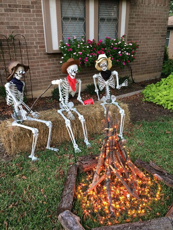 I Found This Fun Idea On Pinterest Made By Tina White Where Three Plastic Cowboy Skeletons Are Having A Campfire Just Put Sticks Standing Up And Wrap