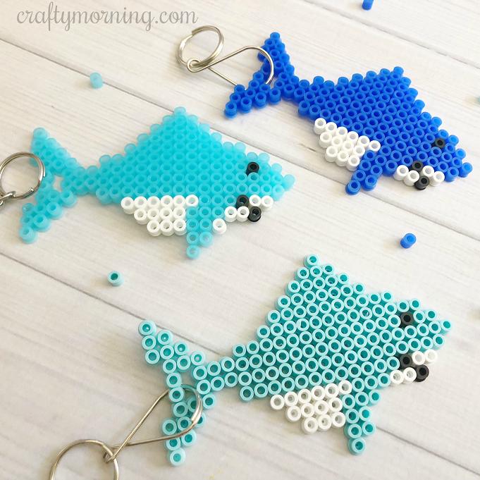 Perler Bead Shark Keychains