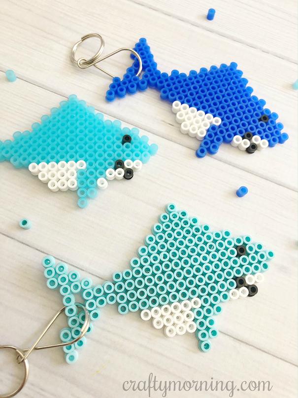 Perler Bead Shark Keychains Crafty Morning