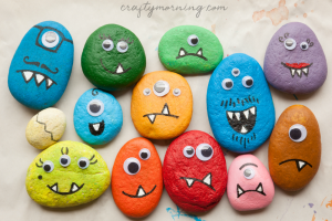 Decorate Stones like Halloween Monsters