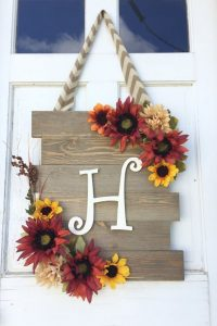 Wood Sunflower Door Hanger