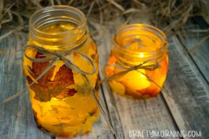 Mason Jar Leaf Candle Holders