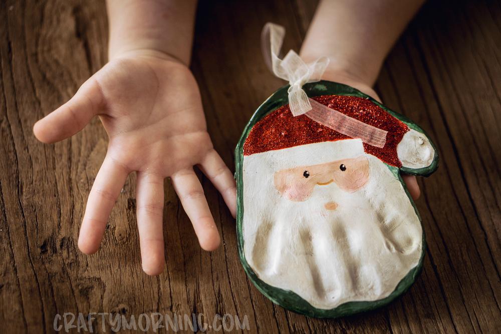 Salt Dough Santa Handprint Ornament