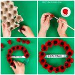 Egg Carton Memorial Day Poppy Wreath