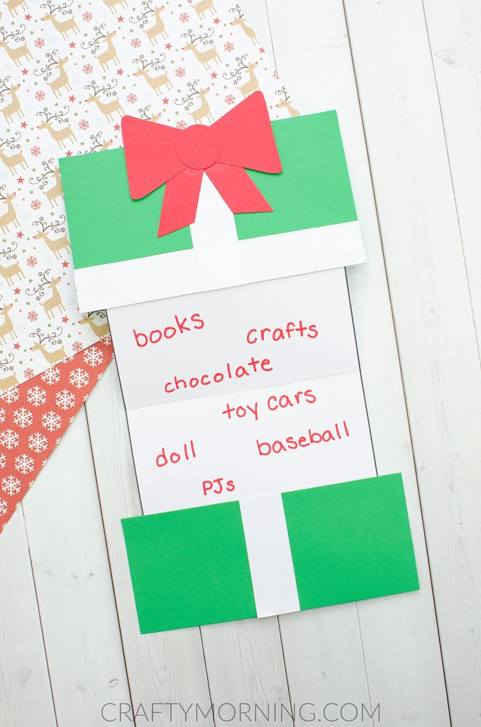 Foldable Christmas Present Wish List Craft