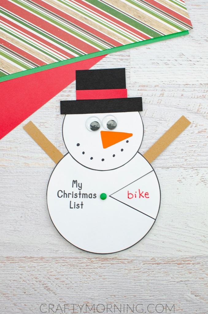 Snowman Christmas Wish List Spinner