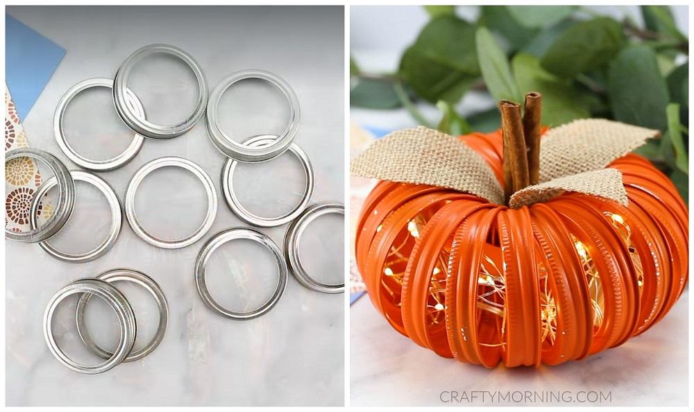 Mason Jar Lid Lighted Pumpkins