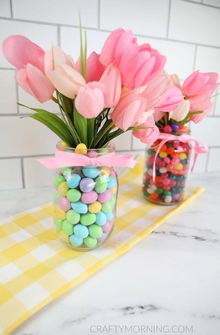 Mason Jar Easter Centerpieces