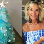 Woman hand makes sea glass Christmas trees and we are all obsessed