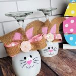 Wine Glass Bunny Candle Holders