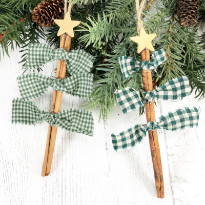 Knotted Cinnamon Stick Tree Ornaments