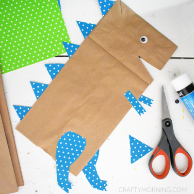 Paper Bag Dinosaur Craft (with Printable Template)