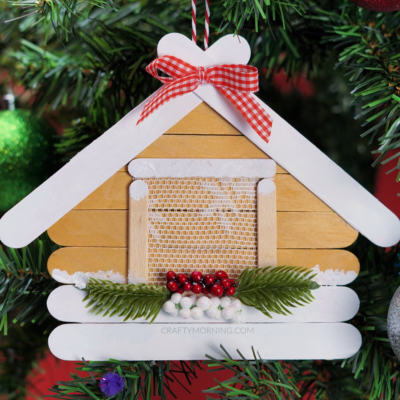 Popsicle Stick Log Cabin Ornament