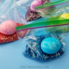 Rice Shake Easter Eggs in Ziploc Bags